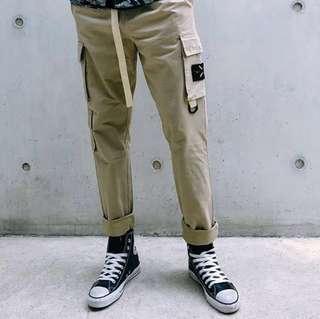🇺🇸歐美Streetwear新款多功能織帶鬆緊工裝褲 (2色選擇)
