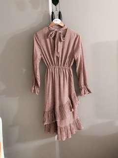 Vintage thrift gingnam ruffle midi dress (Brick Red)