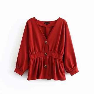 全新 紅色V領上衣 Medium
