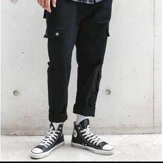 🇺🇸歐美Streetwear純色口袋拼接工裝褲