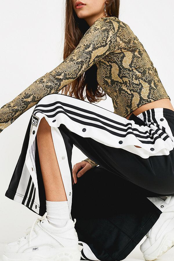 f67d0639e01e adidas Originals Adibreak 3-Stripe Black Taping Popper Track Pants ...