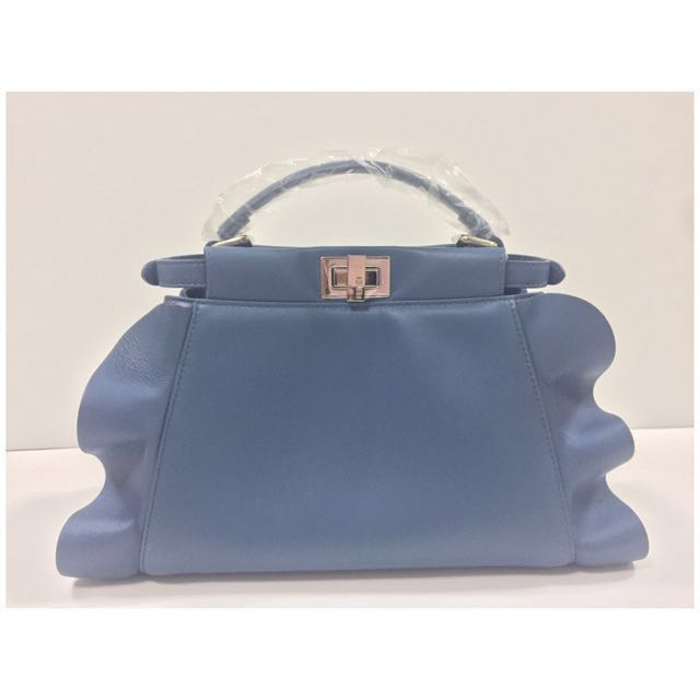 a9db48a5 BNIB Fendi Peekaboo Mini Wave Leather Satchel Bag, Teal