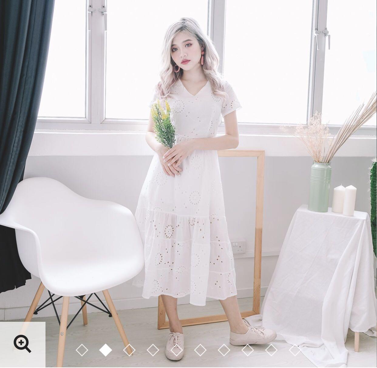 5e110769bc BNIB Kyla Eyelet MIDI Dress in White (Size M)