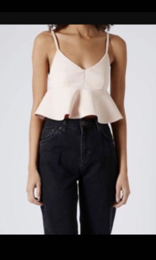0758c50663 BNWT Topshop peplum crop top in blush pink, Women's Fashion, Clothes ...