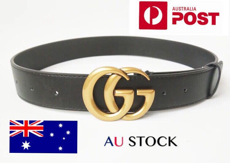 Brand New Bronze GG buckle genuine leather Unisex belts