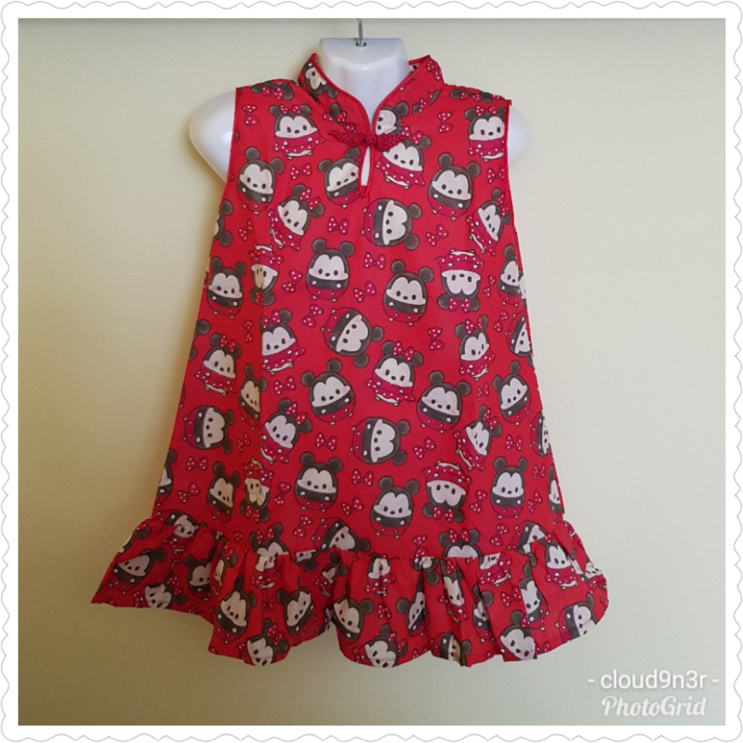 3156239e1d5 *New Arrival* Handmade Premium Cheongsam Dress - Red Mickey Minnie Tsum  Tsum Design 1