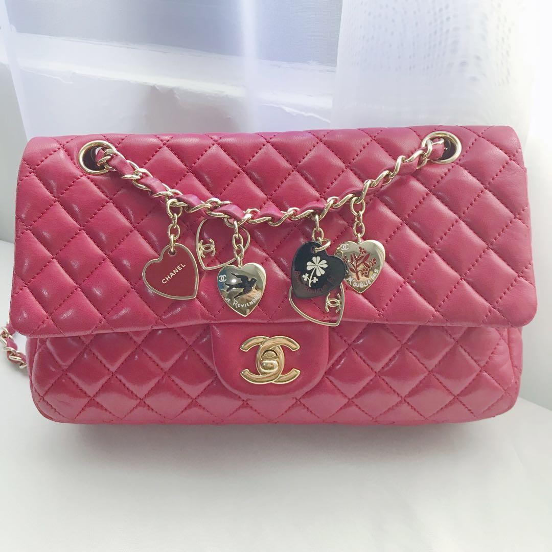 5c2e94430e04 Chanel Valentine Charms Medium Flap Bag in Rose Pink Lambskin ...