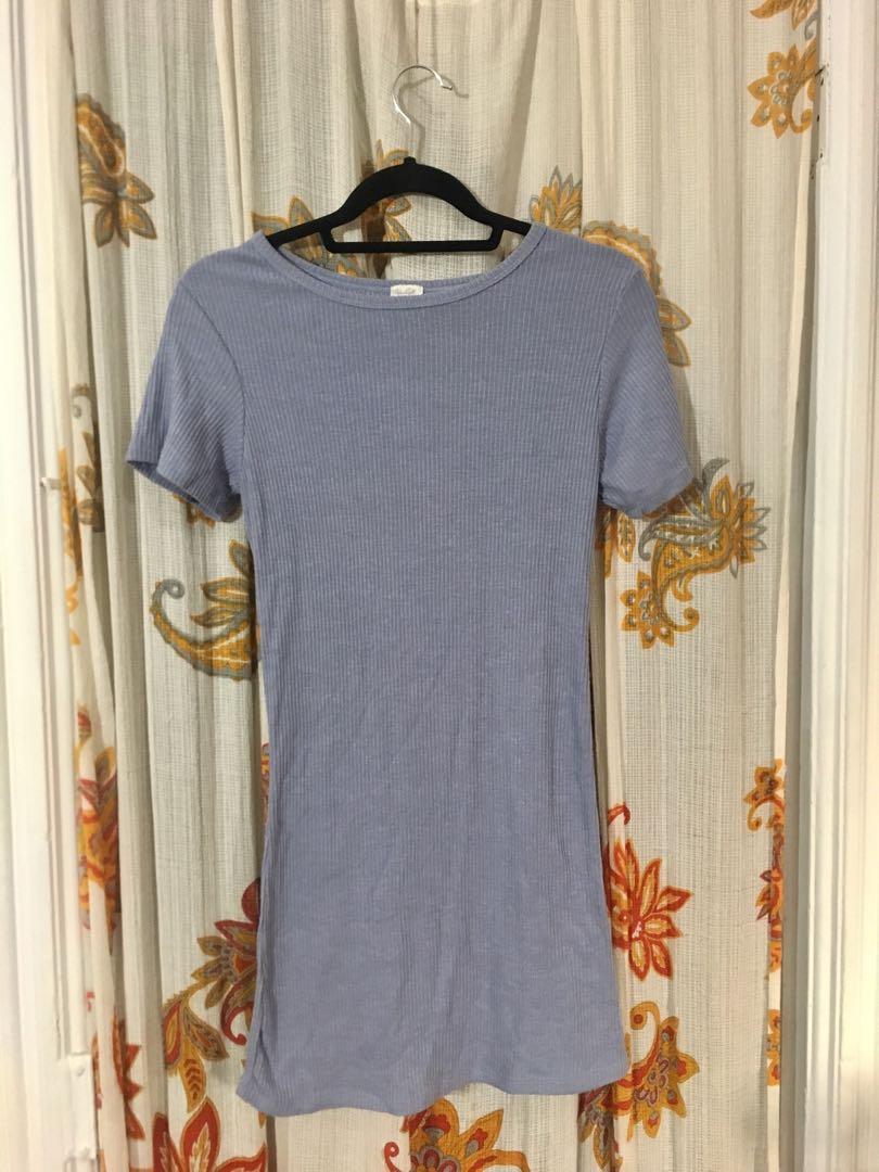Comfy lavender ribbed t-shirt dress