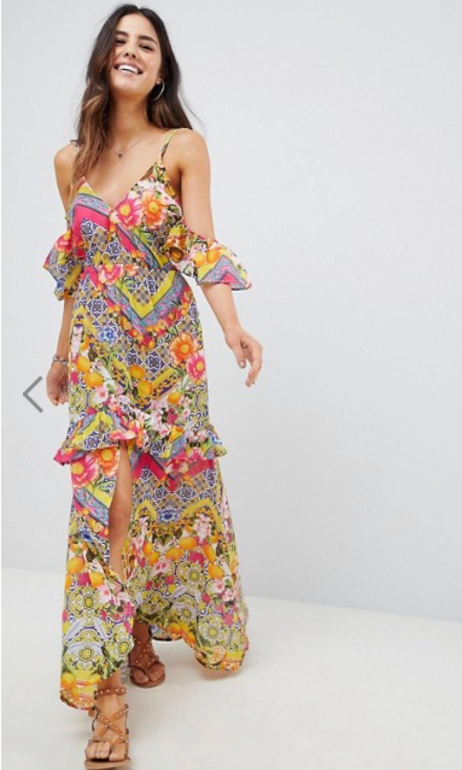 dc0d6f7f2b Cuban tile floral print pattern colourful Bardot maxi cold off shoulder dress  beach party wedding, Women's Fashion, Clothes, Dresses & Skirts on Carousell