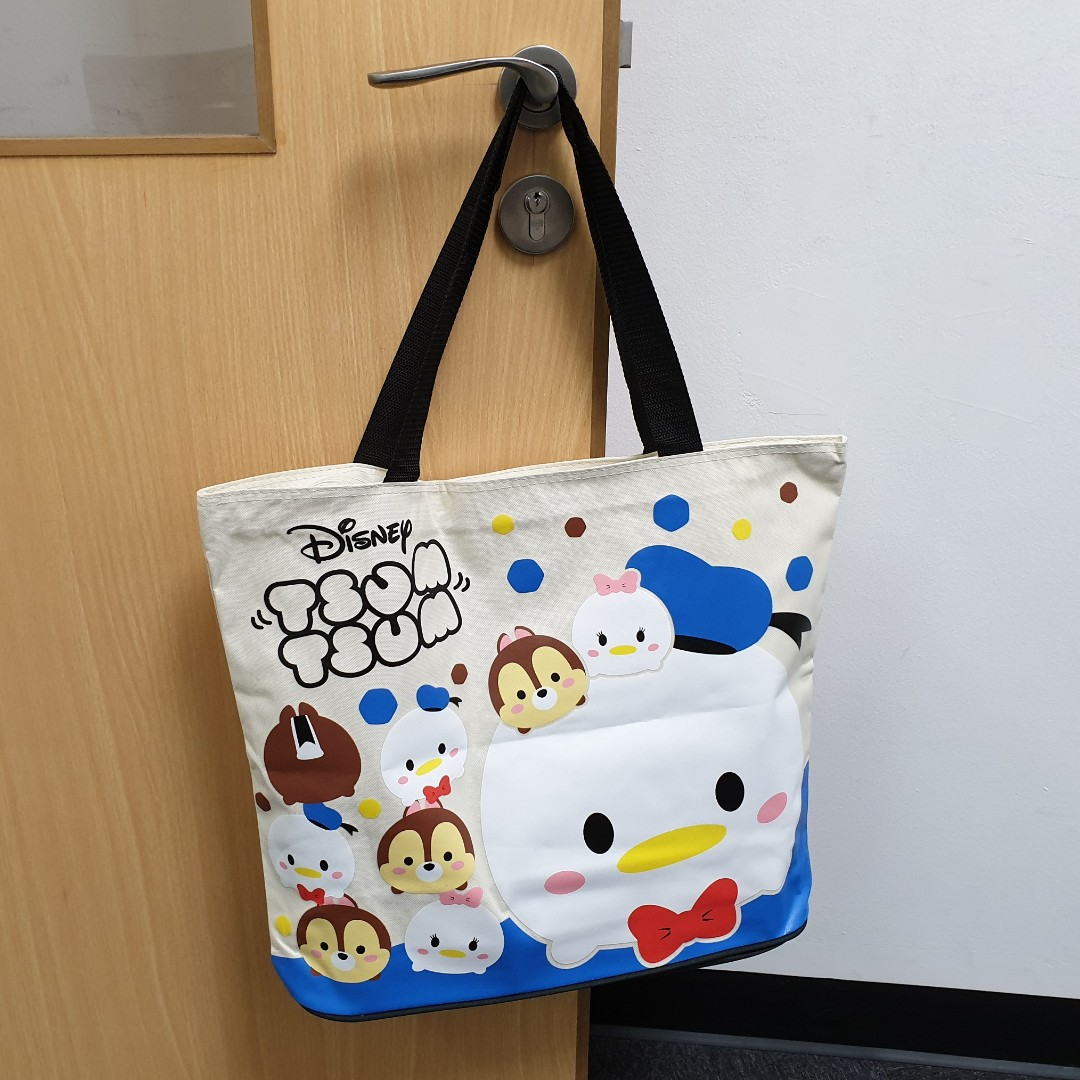 Disney Tsum Tsum Donald, Daisy & Chip XL Size Tote Bag with Zipper, Men's Fashion, Bags & Wallets, Sling Bags on Carousell