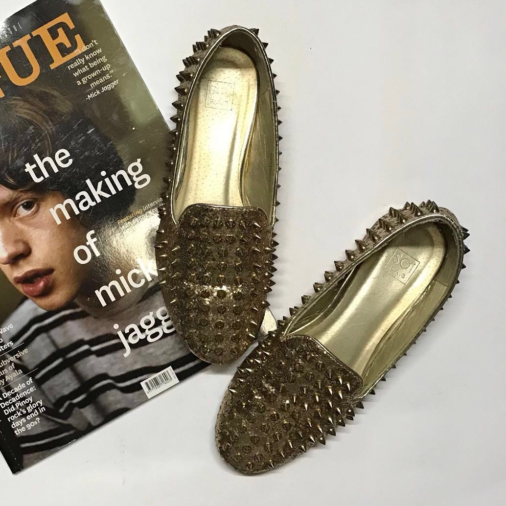 f17fbbcf37a Gold Spiked Loafers