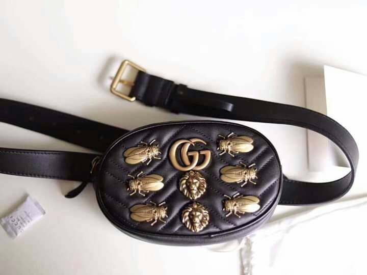 fc2c296cb69 GUCCI GG MARMONT COWHIDE ANIMAL STUD LEATHER BELT BAG