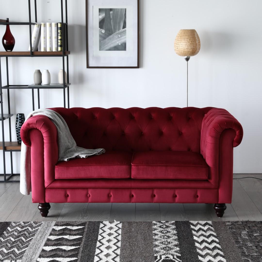 Hugo 2 Seat Chesterfield Sofa - Red Velvet Fabric
