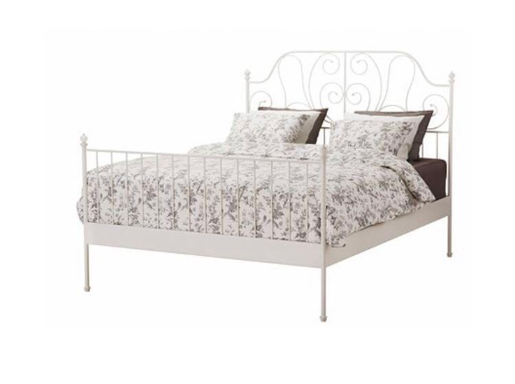 Ikea Leirvik Queen Size Bed Frame Only White Color Furniture