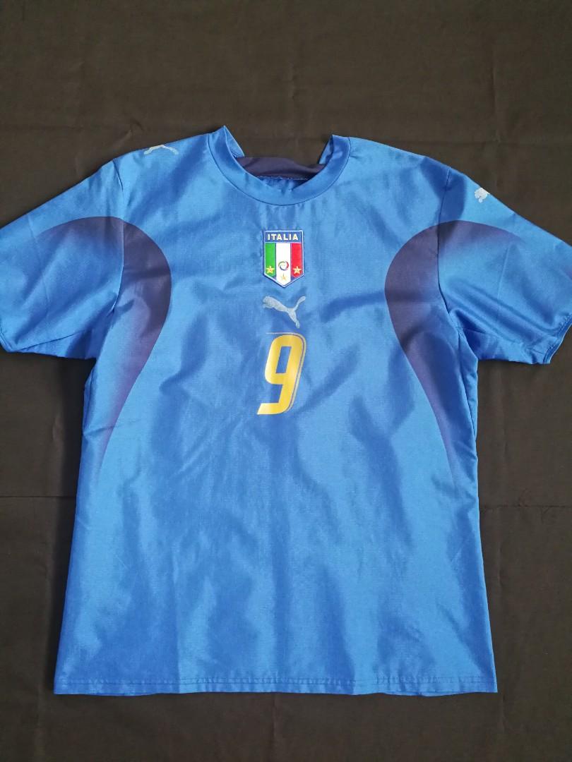 61164c5c4bd Italy 2006 World Cup Champion Home Shirt Jersey 9 toni Puma ...