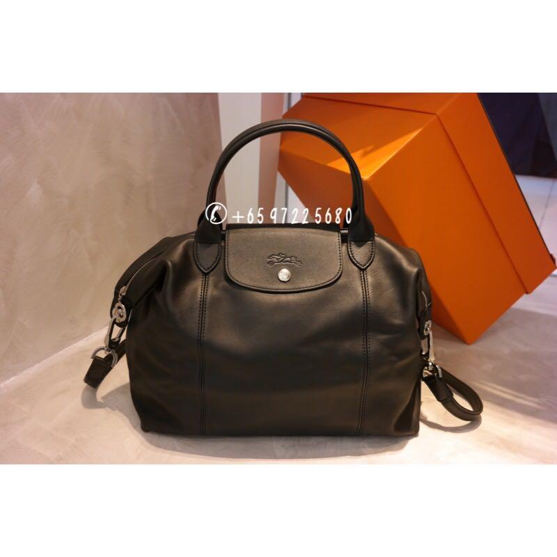 7c11de664efe Longchamp Le Pliage Cuir Medium Black 1515 737 001