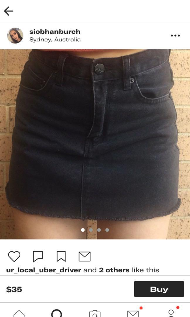 LOOKING FOR! Black Denim Skirt