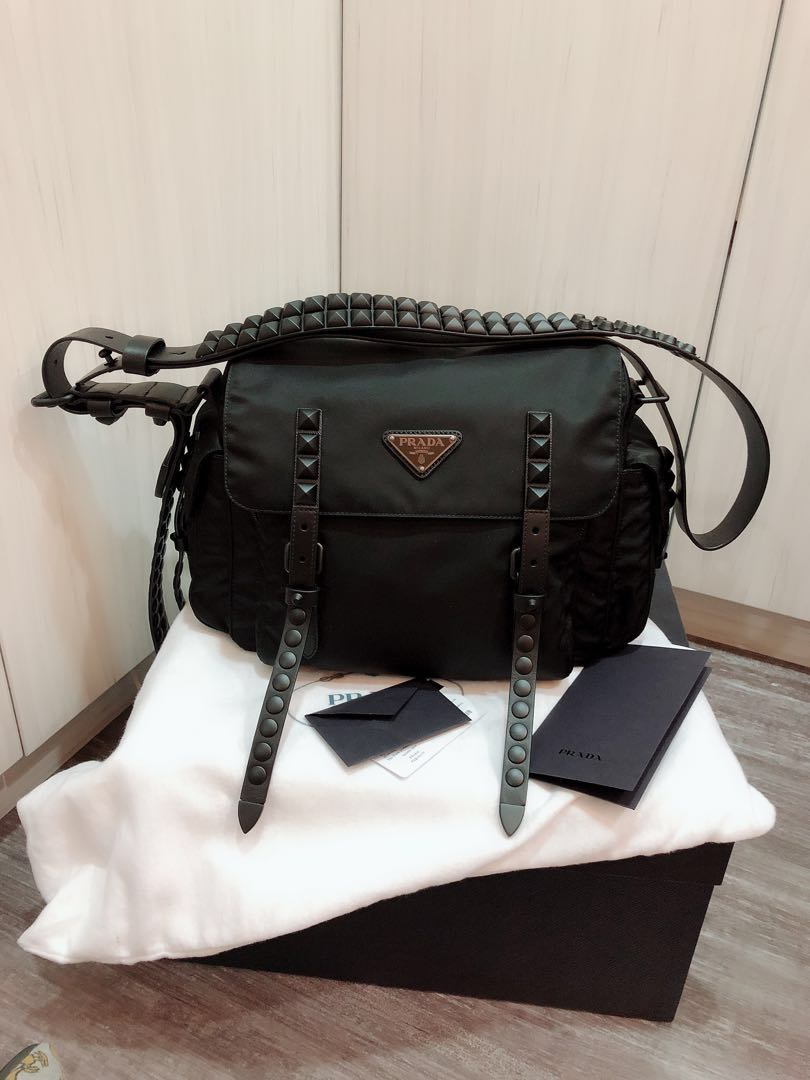 2364ed159 Prada Studded Nylon shoulder sling bag, Luxury, Bags & Wallets ...