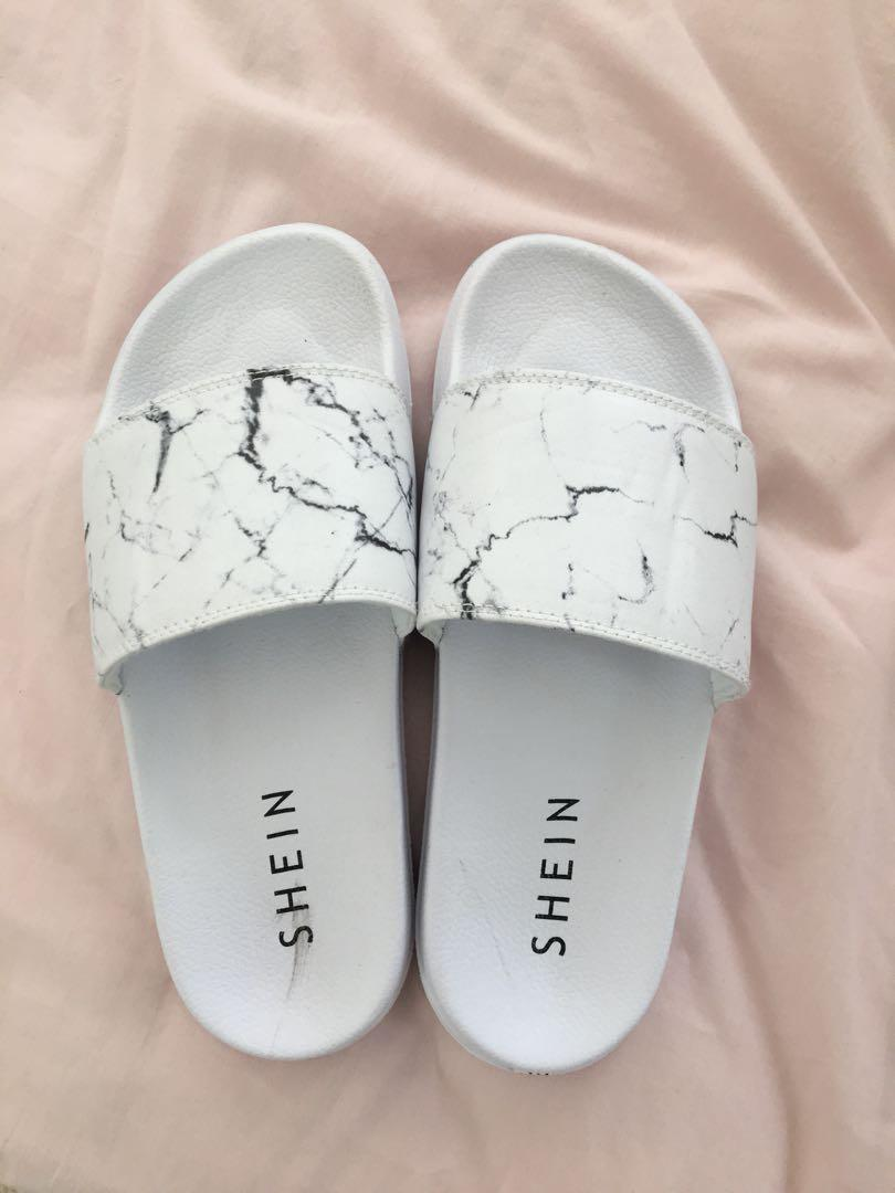 SHEIN white marble slides, Women's