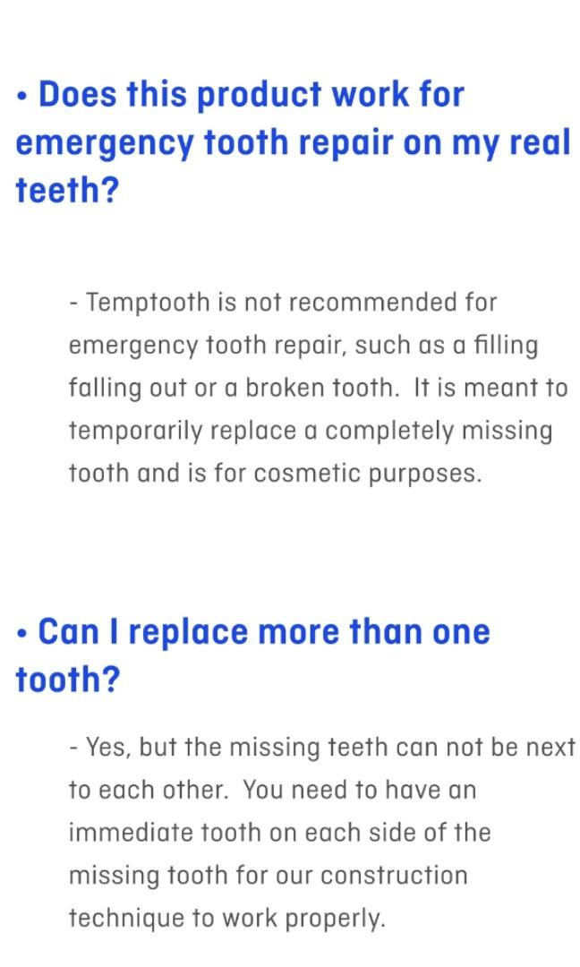 Temptooth! Temporary Tooth Replacement
