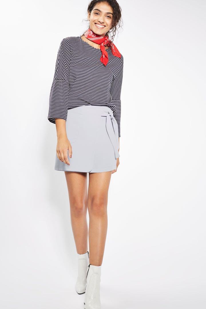 6de8e8526e Topshop Light Grey Utility Wrap Tie Mini Skirt, Women's Fashion, Clothes,  Dresses & Skirts on Carousell