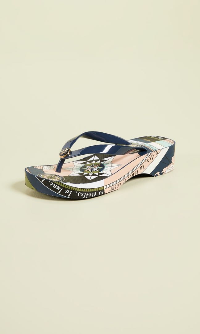 b83a957c664 Tory Burch Kaleidoscopic Elevated Flops