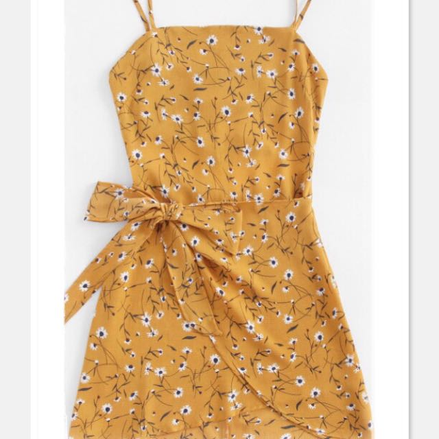 0270190bafd Yellow Floral Back Tie Sundress