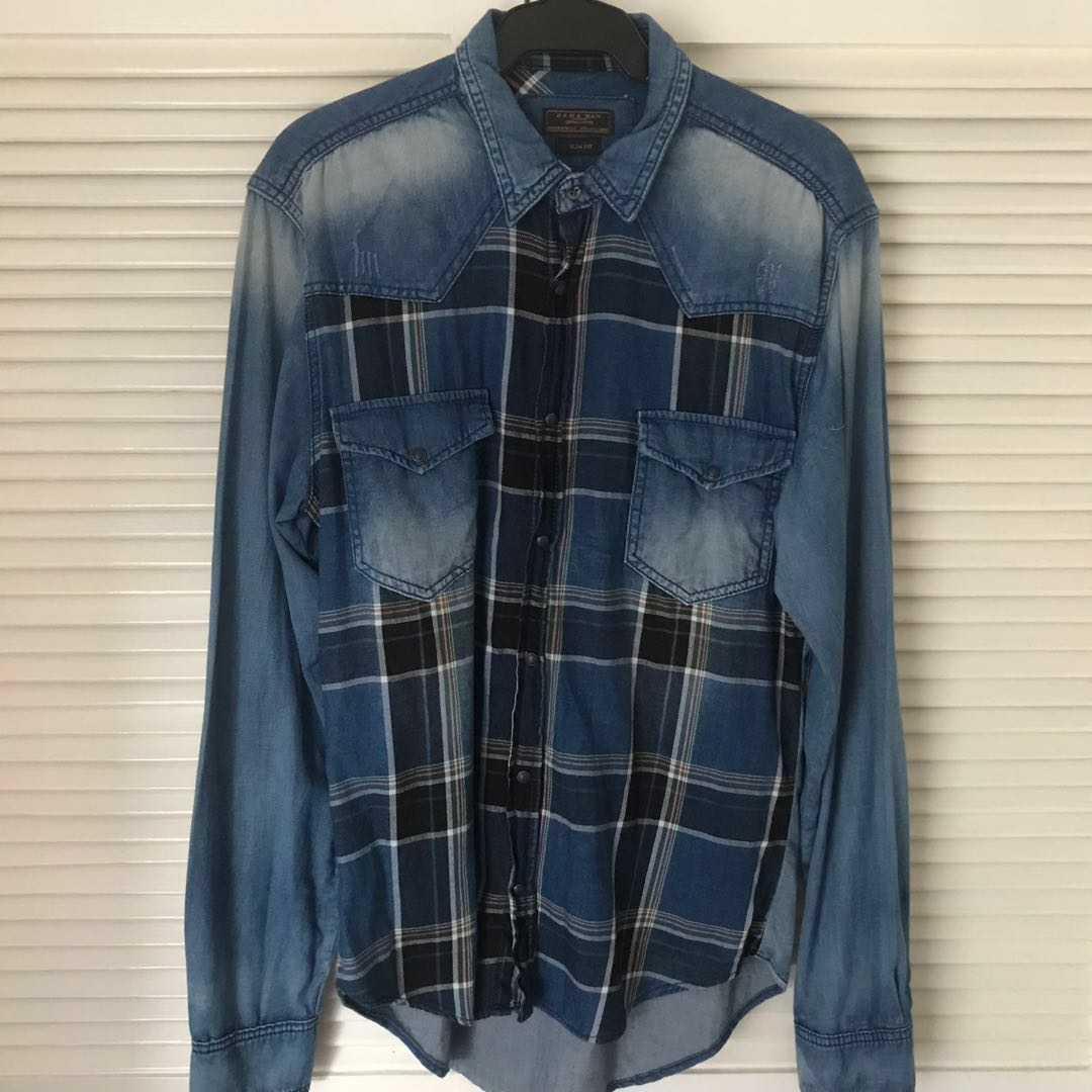 cd71ee293d Zara Man Checkered Denim Shirt