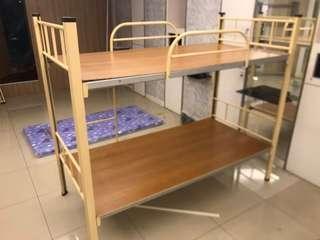 奶茶色上下舖組合鋼床➕床墊