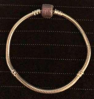 Authentic Pandora Bracelet w/ Purple CZ