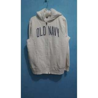 Old Navy Pile Lined White Zipper Hoodie L