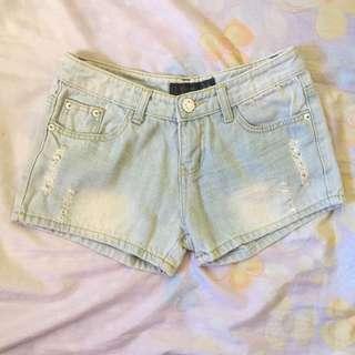 Light Washed Denim Shorts