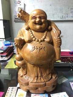 原木木雕招財佛像