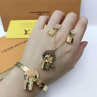 """""""Sale""""New! LV 3in1 Necklace,Earring,Bangles"""
