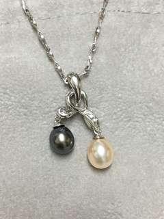14k金天然珍珠真鑽墜