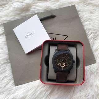 OFFER !! Fossil Original FS4656 MACHINE MID-SIZE CHRONOGRAPH BROWN LEATHER WATCH