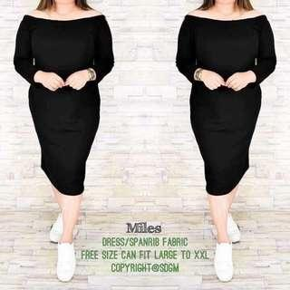 🎀 Plus Size Miles Dress  💞 Price: 400  💞 Spanribs Fabric  💞 Freesize Only/ Fit Large to 2XL