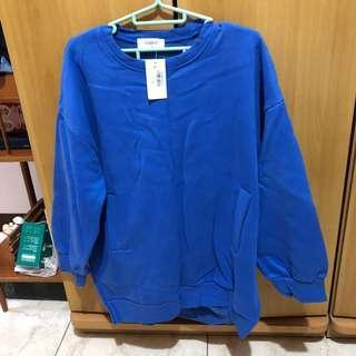 正韓 大學T 微長版 刷毛T 口袋T 長袖 寬鬆