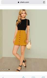 BNIP Mustard Buttondown Skirt