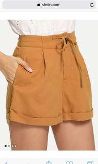 Bnew Tan Rolled Hem Shorts
