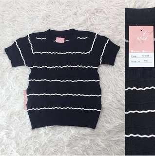 VL7189 Korean black white stripe knit top