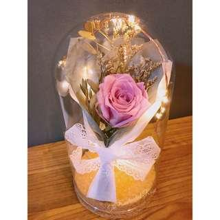 Enchanted Rose Bouquet~ Premium Preserved rose in Glass Dome with dainty fairy lights