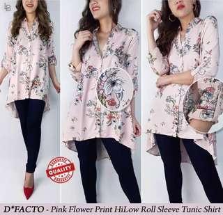 Defacto Pink Flower Print HiLow Loose Blouse Bigsize