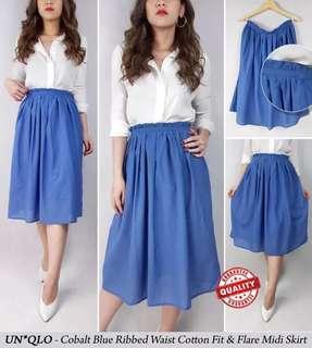 Uniqlo Cobalt Blue Ribbed Waist Blue Skirt Swing Skirt