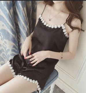 Silk Sleepwear Satin Pyjamas Floral Lace Sexy Lingerie