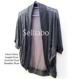 #S127 Outerwear One Size Short Crop 3/4 Long Sleeves Plain Simple See Through Chiffon Back Outer Wear Cardigans Jackets Sellzabo Ladies Girls Women Female Lady Design Style Grey Colour