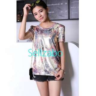 #S71 One Size Top Short Sleeves Unique Stars Reflective Tee T-Shirts Blouse Shirts Sellzabo Ladies Girls Women Female Lady Design Gold Golden Colour