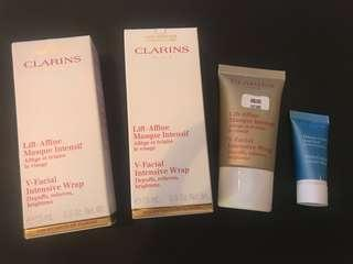 CLARINS V Facial Intensive Wrap (15ml) x 3 + Hydraquench Cream Mask (5ml)
