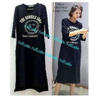 #S170 Size L Thick Cotton Black Colour Tee T-Shirt Long Dress Ladies Girls Women Female Lady Sellzabo Smiley Face Diamante