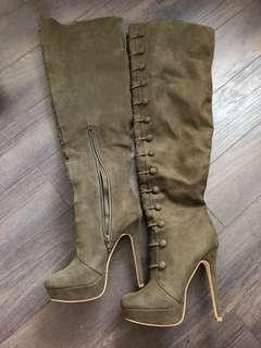 Olive colour heeled boots size 7.5